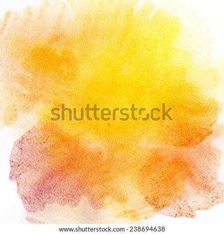 Abstract hand drawn watercolor background. Aquarelle orange and yellow texture. Hand painting backdrop. - stock photo