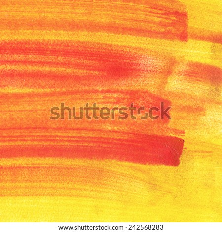 Abstract hand drawn watercolor background. Aquarelle red, orange and yellow texture.