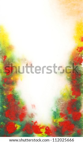 Abstract hand drawn watercolor background: green leaves and red flowers. Great for textures, vintage design, and luxurious wallpaper