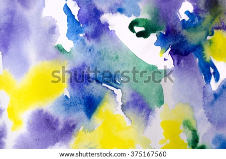 Abstract hand drawn watercolor background: illustration of blue, green and yellow spots. Great for textures, vintage design, and luxurious wallpaper.