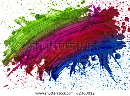 abstract hand drawn watercolor blot, raster illustration - stock photo