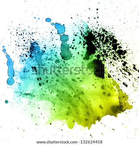 abstract hand drawn watercolor blots - stock photo