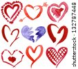 Abstract hand drawn watercolor hearts set isolated on a white background - stock photo
