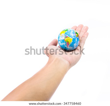 Abstract hand holding earth on white background. World in hand