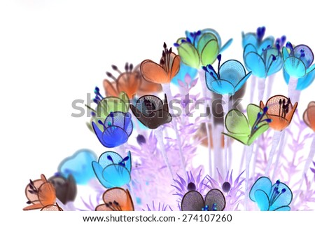 Abstract hand made flowers with inverse color for design element - stock photo