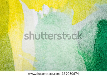 Abstract hand painted green and yellow watercolor arts background  - stock photo