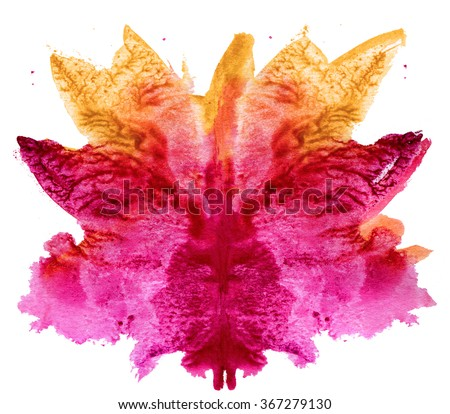 abstract hand painted watercolor ink rorschach grunge  background, red and yellow flower - stock photo