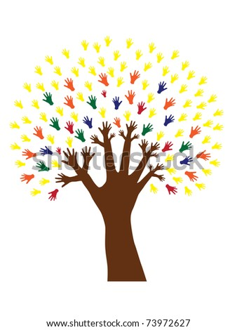 abstract hand tree, symbol of nature and diversity