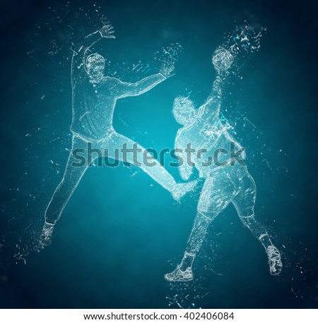 Abstract handball players in action. Crystal ice effect - stock photo