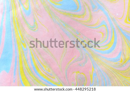 Abstract handmade marble background. Ebru, traditional Turkish painting art. Painting on water. Transferred painting on paper. Marbling style. Writing surface, endpapers in bookbinding and stationery. - stock photo