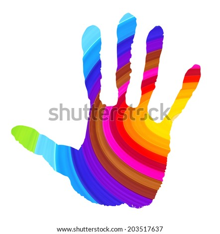 Abstract handprint in vibrant colors isolated on white
