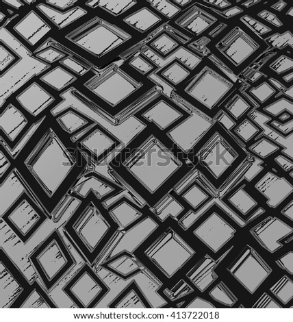 Abstract haunting squares illusion ideal for background - stock photo