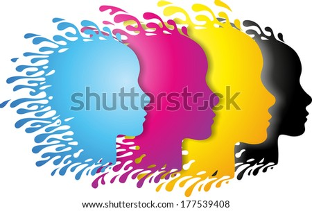 abstract heads in primary colors with paint splashes - stock photo
