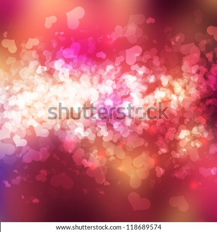 Abstract heart bokeh bright background - stock photo