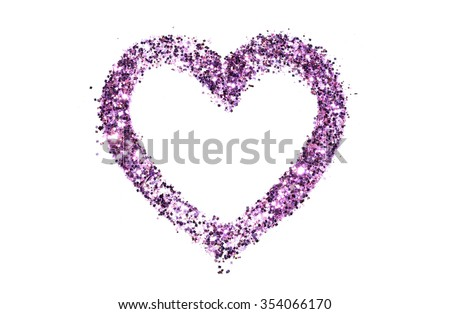 Abstract heart of purple glitter sparkle on white background - stock photo