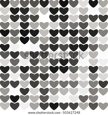 Abstract hearts black and white background, raster version