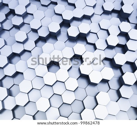 abstract  hexagonal cubes background - stock photo