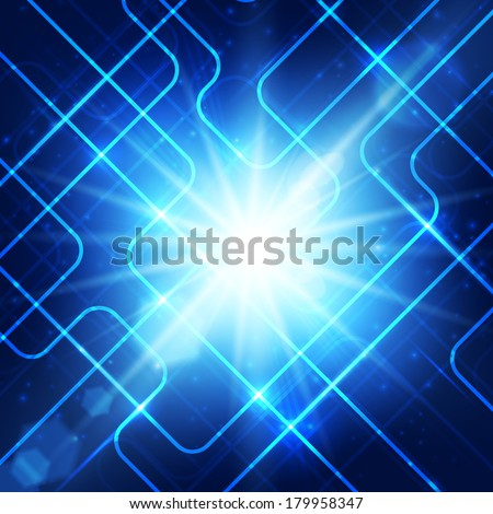 Abstract hi-technology blue background with bright burst. Illustration.