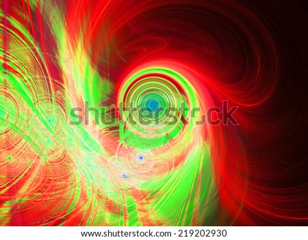 Abstract high resolution background with a detailed bright shining red, green, yellow and blue fractal pattern consisting of various spirals,discs,circles and rings in center, all bended and twisted.  - stock photo