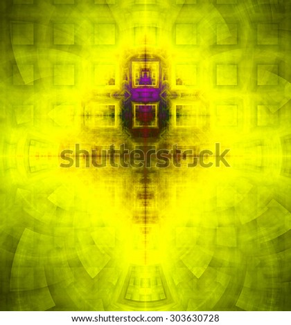 Abstract high resolution background with a detailed geometric square pattern and decorative arches, all in dark and bright vivid yellow,green,purple - stock photo