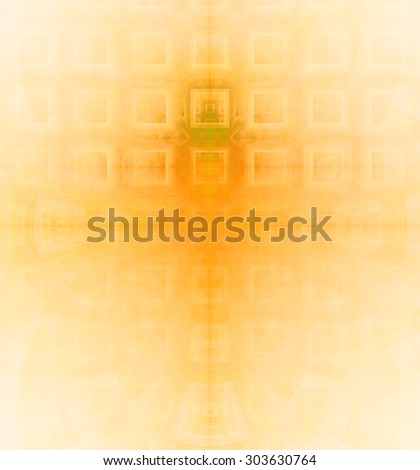 Abstract high resolution background with a detailed geometric square pattern and decorative arches, all in yellow - stock photo
