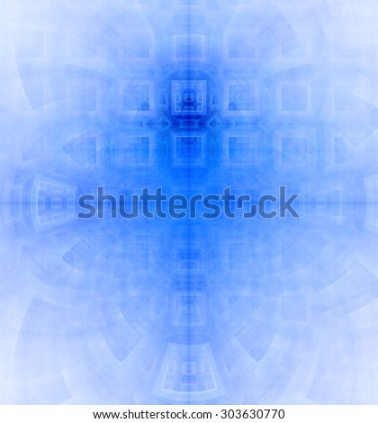 Abstract high resolution background with a detailed geometric square pattern and decorative arches, all in blue - stock photo