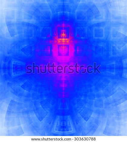 Abstract high resolution background with a detailed geometric square pattern and decorative arches, all in vivid blue and pink - stock photo