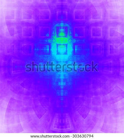 Abstract high resolution background with a detailed geometric square pattern and decorative arches, all in vivid cyan,blue,pink - stock photo