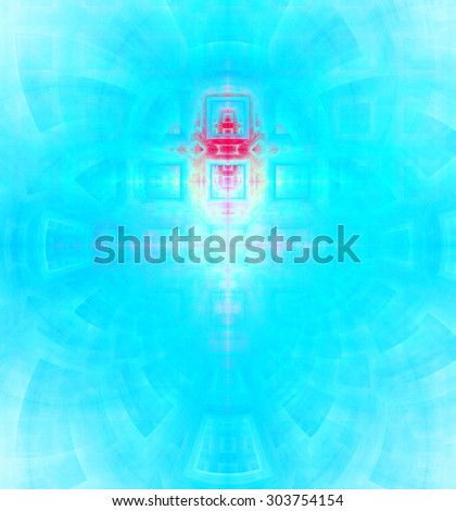 Abstract high resolution background with a detailed geometric square pattern and decorative arches, all in bright vivid blue and pink - stock photo