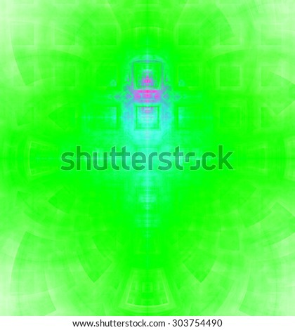 Abstract high resolution background with a detailed geometric square pattern and decorative arches, all in bright vivid green,pink,teal - stock photo