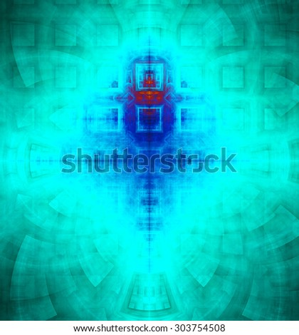 Abstract high resolution background with a detailed geometric square pattern and decorative arches, all in dark and bright vivid cyan,blue,pink - stock photo