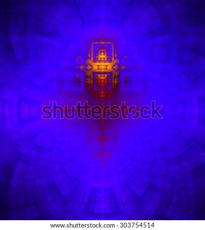Abstract high resolution background with a detailed geometric square pattern and decorative arches, all in dark and bright vivid purple,pink,yellow - stock photo
