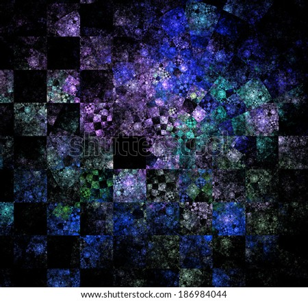 Abstract high resolution checkerboard fractal background in high resolution and with a very detailed decorative spiraling twisted pattern in pink,blue and cyan colors - stock photo