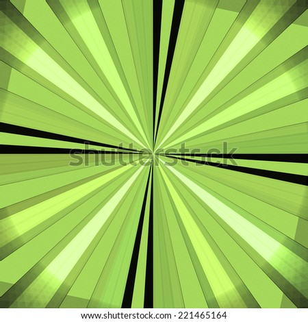 Abstract high resolution circular background with a dark and light not very vivid green-yellow and some black rays (beams) coming out of the center filling the whole circle. - stock photo