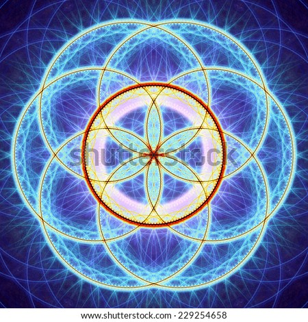 Abstract high resolution colorful flower of life mandala in blue,purple,yellow and red colors and against dark background  - stock photo