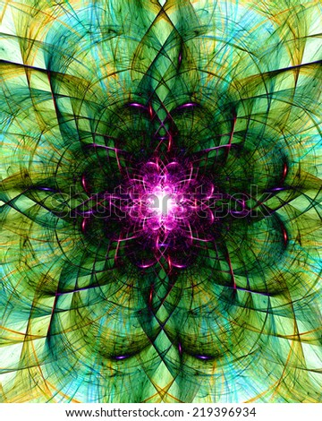 Abstract high resolution detailed shining yellow, cyan and green star with a detailed ornamental wavy intersecting pattern and a bright pink core surrounded by a black corona - stock photo