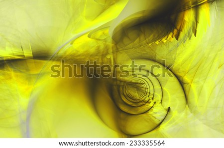 Abstract high resolution fractal background with a detailed shadowy abstract pattern with a circular tunnel and various feather-like decorative structures in black and yellow - stock photo