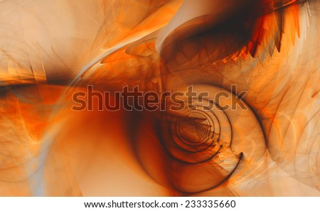 Abstract high resolution fractal background with a detailed shadowy abstract pattern with a circular tunnel and various feather-like decorative structures in black and orange - stock photo