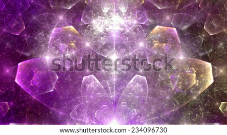 Abstract high resolution fractal background with a detailed shining crystal flower in pink and yellow colors