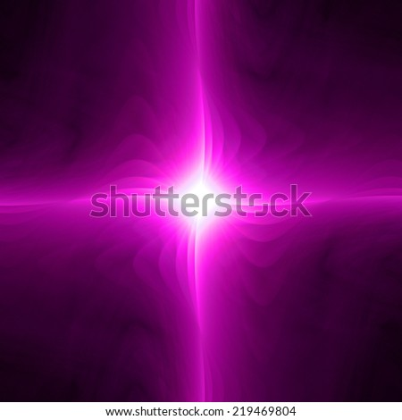 Abstract high resolution fractal wallpaper with a simple lightly twisted pink star with a detailed decorative twisted waves around it