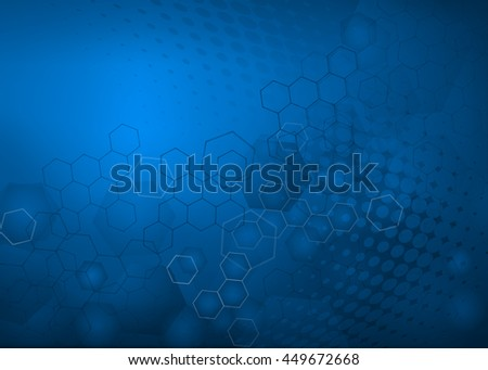 Abstract high resolution free radical molecular illustration of blue faded hexagonal/geometric layered design background perfect for Medical, Healthcare and Science . - stock photo