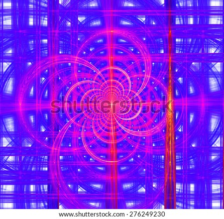 Abstract high resolution hypnotic infinite spiral background with a detailed decorative interconnected grid of arches and pillars in vivid pink,purple,yellow