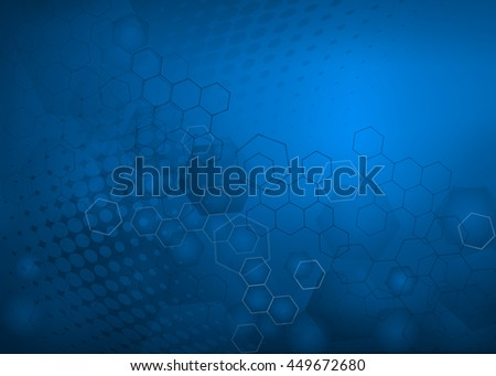 Abstract high resolution molecular illustration of blue faded hexagonal/geometric layered design background perfect for Medical, Healthcare and Science and many other Businesses Plenty of copy space. - stock photo