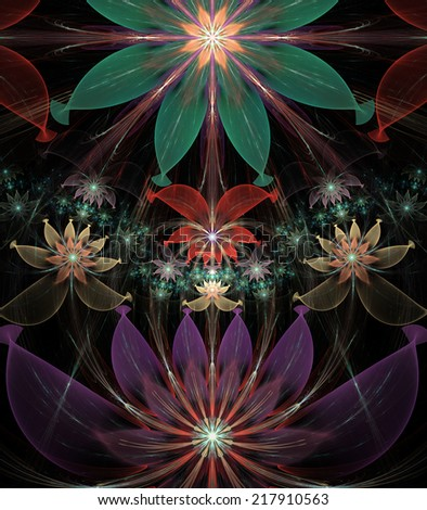 Abstract High Resolution Wallpaper With A Detailed Modern Exotic Looking Shining Flower Pattern In Green