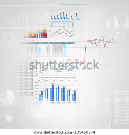 Abstract high tech background with graphs and diagrams - stock photo