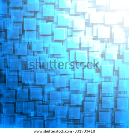 Abstract High-Tech Blue Glass Background. 3d Render Illustration - stock photo