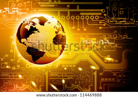 abstract high tech circuit board and world - stock photo