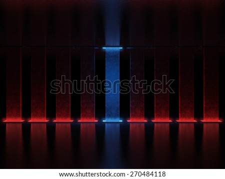 Abstract high tower illuminated with red light, one of them is highlighted in blue - stock photo