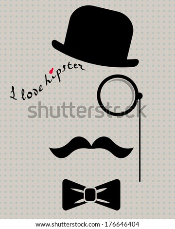 abstract hipster silhouette with bowler hat, monocle, mustache and bow tie on the vintage polka dot background (raster copy of ID 134826284) - stock photo