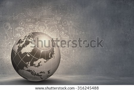 Abstract hitech digital background image with globe - stock photo